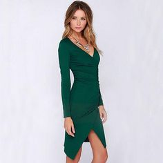 Sexy V-neck Long Sleeve Irregular Hem Slim Fit Dress
