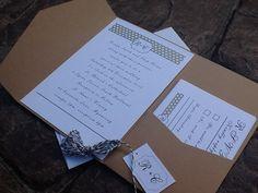 Classy Pocketfold  Wedding Invitations rsvp card di 2beUdesign