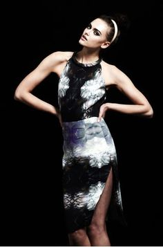 Sexy and sleek in a digital printed dress with side slit. Michael Angel Fall 2012. Photo courtesy of Michael Angel.