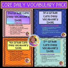 This grab and go product is all four of my core daily vocabulary products. Each of the four is formatted in blocks with various skills students need to know in their respective grade levels to be successful in ELA. Each of the skill boxes are marked with the core standard it supports. If you teach m...