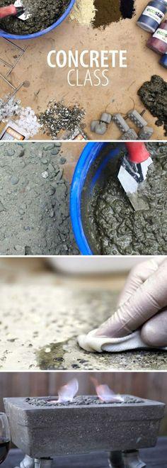basteln mit beton   diy feuerstelle, spachtel, blauer eimer