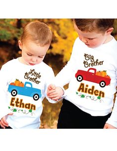 Fall / Thanksgiving Big Brother Little Brother Pumpkin and Truck Personalized Sibling Set, Custom Kids Shirt for Boys Girls and Babies, #brothershirts, #pumpkinsintruck, #pumpkinpatchshirts, #bigbrothershirts