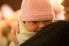 "Ravelry: Braided-Edge Baby Hat pattern by Becky Colvin fits newborns, 13-14"" head circumference"