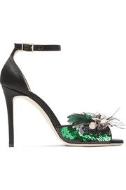 c9e9a885ff7b Annie sequin and feather-embellished satin sandals Black High Heel Sandals