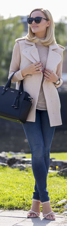 Caroline Berg Eriksen Blush Embellished Top Fall Inspo women fashion outfit clothing stylish apparel @roressclothes closet ideas