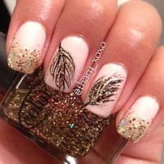 Pink base with feathers on two middle fingers and gold sparkles on tips of index finger and pinky - Click image to find more nail art posts