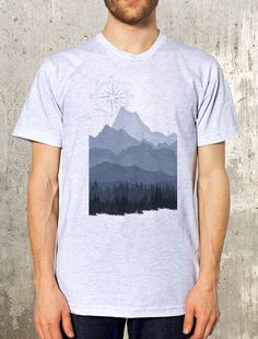 Men's Mountain T-Shirt - Layered Landscape - Screen Printed T-Shirt - American Apparel - Available in S, M, L, XL and XXL