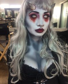 Happy October 1st, my fellow creepy people  had fun doing this succubus #makeup on @lady_6six6 yesterday. Can't wait to show you the professional photos! #sfxmakeup using #tinsleytransfers #mehron paints #doseofcolors #houseoflashes #makeupforever  #mua #losangeles #halloween #love #art #fun #cms