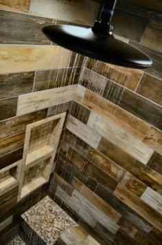 www.facebook.com/hendersontile. Rustic barnwood tile custom tile shower