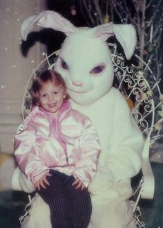 That bunny has one shady smile on his face. | 19 Vintage Easter Bunny Photos That Will Make Your Skin Crawl