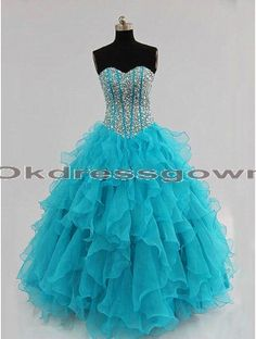 affordable blue A-line sweetheart long prom dress with rhinestones