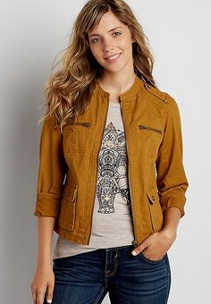 zip up jacket in autumn gold   maurices