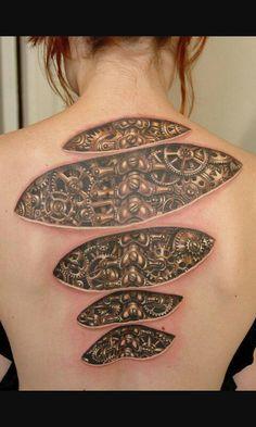 Back tattoos Amazing 3d Tattoos, Weird Tattoos, Beautiful Tattoos, New Tattoos, Cool Tattoos, Badass Tattoos, Warrior Tattoos, Virgo Tattoos, Best 3d Tattoos