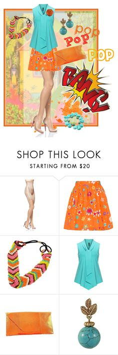 """pop Pop POP BANG!"" by shoppe23 on Polyvore featuring SPANX, Manon Baptiste, orange, turquoisejewelry, orangeoutfit, Shoppe23 and popsoforange"