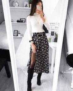 Whats your favorite layering piece Shop 'SHEIN Ditsy Floral Print Wide Band Waist High Split Skirt' link in bio. Winter Fashion Outfits, Modest Fashion, Look Fashion, Autumn Fashion, Womens Fashion, Feminine Fashion, Lolita Fashion, Fall Work Fashion, Skirt Fashion
