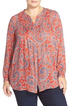 Lucky Brand Paisley Textured Woven Top (Plus Size)
