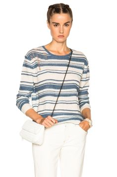 Raquel Allegra Shred Pullover Sweater in Vintage Blue & Ivory | FWRD