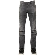 Pierre Balmain Men 15.5cm Faded Stretch Denim Biker Jeans ($510) ❤ liked on Polyvore featuring men's fashion, men's clothing, men's jeans, grey, mens jeans, mens faded jeans, mens grey jeans, mens stretch denim jeans and mens button fly jeans