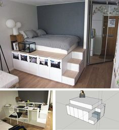 Build your own bed: 12 unique DIY bed and bed frame ideas- Bett selber einmalige DIY Bett und Bettrahmen Ideen ikea bed build instruction - Ikea Bed, Bedroom Design, Bedroom Diy, Bedroom Inspirations, Small Room Bedroom, Diy Bed Frame, Diy Loft Bed, Diy Platform Bed, Dream Rooms