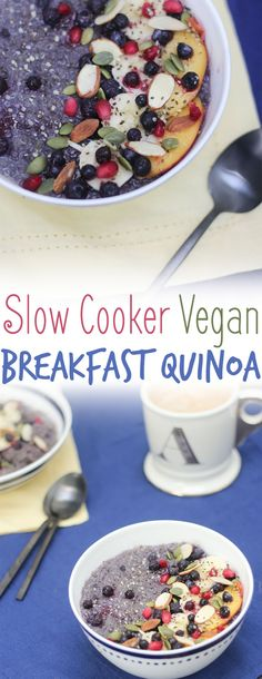 This healthy #glutenfree slow cooker #vegan breakfast quinoa is backed with blueberries, bananas and absolutely no added sugar!