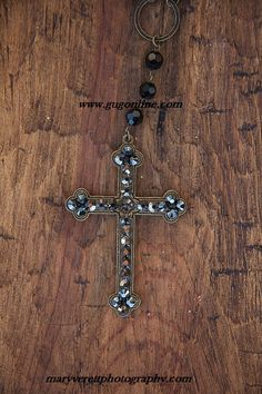Black Iridescent Crystal Cross on Bronze and Black Crystal Chain Necklace www.gugonline.com $44.95