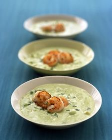 (Chilled) Avocado-Cucumber Soup with Shrimp - Pureed avocado and yogurt gives this chilled soup its creamy texture