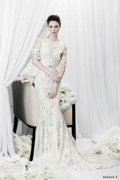 annasul y bridal 2015 lace sheath wedding dress half sleeves