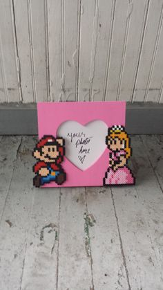 Picture Frame  Mario and Princess Peach by BurritoPrincess on Etsy