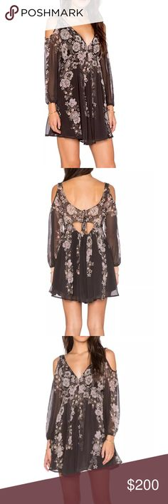 FREE PEOPLE Mini Dress Patterned Bohemian Classic Size Small. New Without Tags. $148 MSRP + Tax.  • Beautiful mini dress featuring an effortless silhouette & exposed shoulders. • Dark gray in color with muted pink & orange tones. • Floral printed design, v-neckline & ties at long sleeve cuffs. • Empire waist & banded elastic open back w/ ties. • Self-lined with a mini dress. • Hidden side zip closure.  {Southern Girl Fashion - Closet Policy}  ✔️ Same-Business-Day Shipping (10am CT). ✔️ Price…