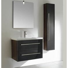 Alcina with Two Drawers and Side Storage | Best Value Bathroom Furniture in Ireland.  Contemporary wall hung vanity unit with two soft close drawers and side storage.  Perfect for a medium to large sized bathroom. Comes in three sizes.