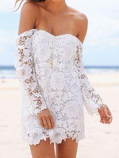 White Cut Out Back Off Shoulder Crochet Lace Mini Dress Cheap Dresses, Short Dresses, Formal Dresses, Lace Dresses, Mini Dresses, Dress Lace, Wedding Dresses, White Off Shoulder Dress, Boho Chic