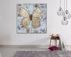 Mariposa dorada Original pintura Textured por HandmadePieceGallery