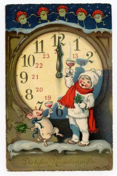 VINTAGE CHRISTMAS POSTCARD. Clock Pigs Mushrooms  German xmas new year card
