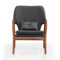 Chair : solid wood frame + charcoal-gray upholstery