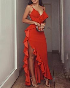 This dress is MadeToOrder in our Dressself Hot Red Prom Dresses Ruffles Spaghetti Straps Long Evening Party Dresses Suitable for Party Prom and Evening - Girl Elegant Dresses, Cute Dresses, Prom Dresses, Dress Prom, Bandage Dresses, Long Dresses, Flapper Dresses, Summer Dresses, Tight Dresses