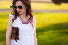 Bib necklace and leopard clutch // LipglossandLabels.com