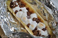 Chocolate Marshmallow Banana Boats. 10-15 min, try with butterscotch chips too!