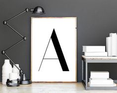 Letter A Printable Poster Scandinavian Letter by DreamPrintDesigns Typography Prints, Lettering, Wall Art Designs, Modern Wall Art, Printing Services, Framed Art, Scandinavian, Digital Prints, Wall Decor