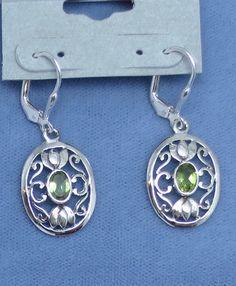 Genuine Peridot Earrings - Leverback - Sterling Silver - Filigree - Ov – Posh Silver Jewelry