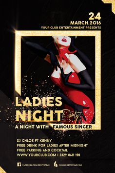 Ladies night Party Flyer Template bar, black, blue, celebration, club, dancing, disco, event, facebook cover, flash, flyer, frame, glitter, gold, golden, ladies, lady, music, night, parties, party, poster, red, sounds, space, sparkling, violet