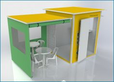 The Solar-powered Budget Internet Cafe demonstrates its versatility with its hinged side wall which is raised to create the additional seating area for the Internet cafe. http://rightstuff.tv/solar-powered-kiosks.htm