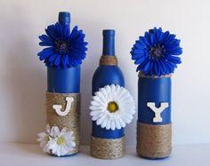 Botella de alegría conjunto, botellas decorativas, hilo envuelto, decoración de la botella de vino país Decor, decoración rústica, estilo rústico, botella de vino Set