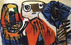Karel Appel - animauxs et fleurs - 1952