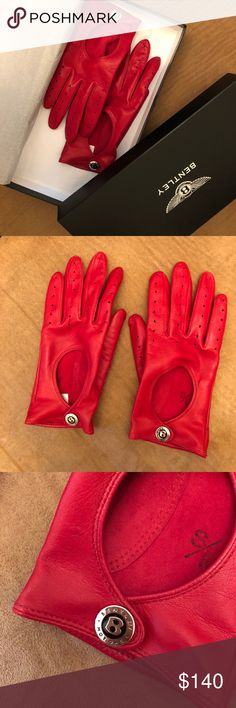 Red leather Bentley gloves Authentic red leather Bentley gloves in size S/M.  New, never worn! Bentley Accessories Gloves & Mittens