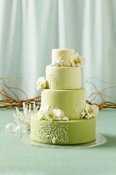 Modern beach wedding cake