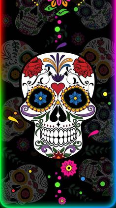 Search free neon Ringtones and Wallpapers on Zedge and personalize your phone to suit you. Start your search now and free your phone Sugar Skull Wallpaper, Sugar Skull Artwork, Goth Wallpaper, Pink Wallpaper Iphone, Iphone Backgrounds, Galaxy Wallpaper, Lace Skull Tattoo, Sugar Skull Girl, Sugar Skulls