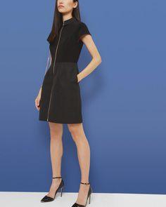 Zip front textured dress - Black   Dresses   Ted Baker