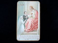 Vintage French First Communion Catholic Holy Card