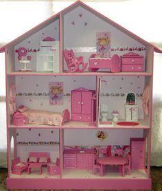 Casita De Muñecas, Barbie, Pintada Y Decorada Con Muebles ...