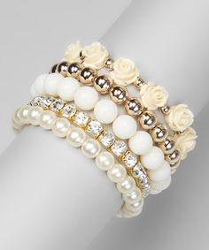 Pearl & White Rose Stretch Bracelet